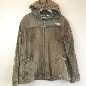 North Face Oso teddy fleece hood brown jacket XXL